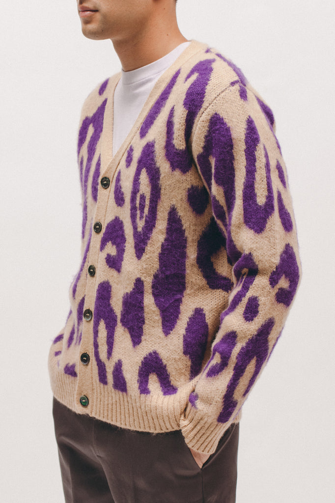 Mohair Cardigan - Camel/Plum - [product _vendor]