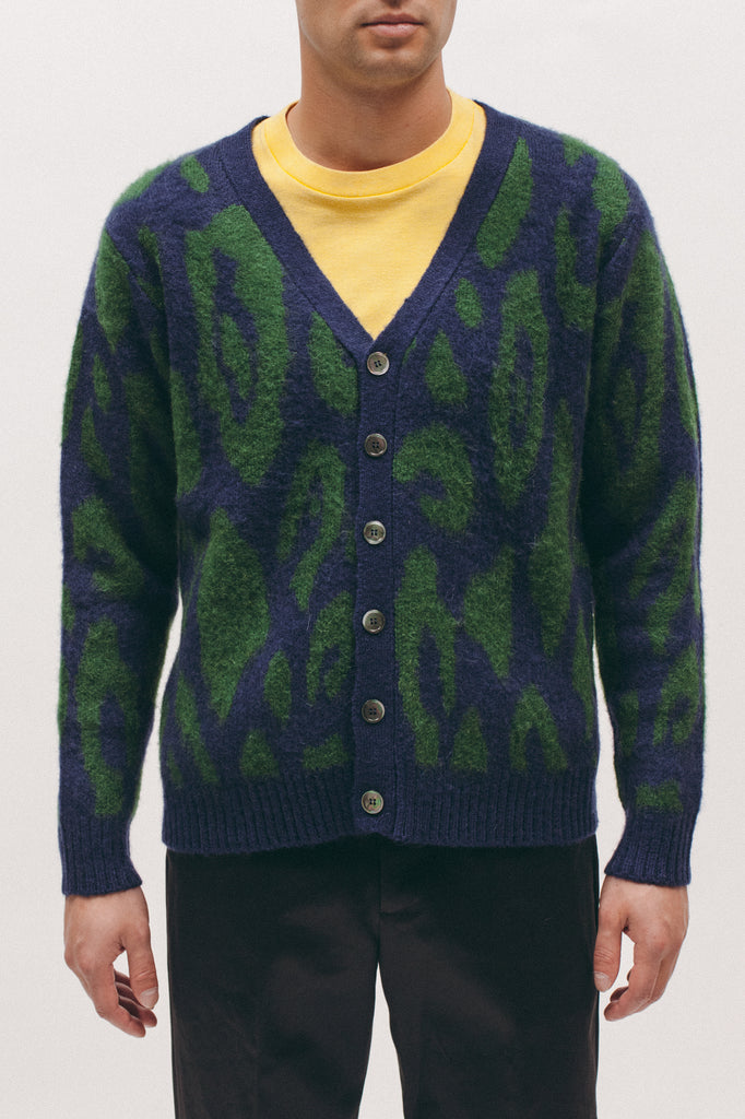 Mohair Cardigan - Navy/Evergreen