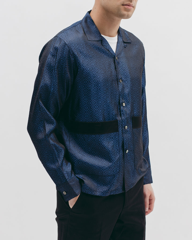 Tile L/S Shirt - Navy - Maiden Noir