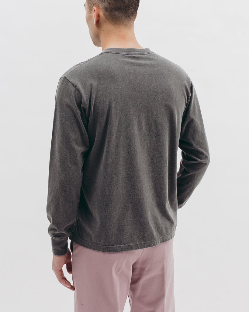 Natural Dyed Block L/S Jersey - Charcoal - Maiden Noir