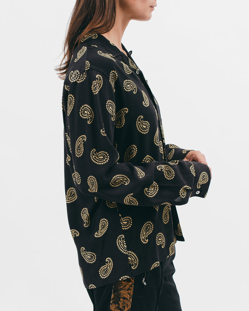 Paisley Rayon LS Shirt - Black - [product _vendor]