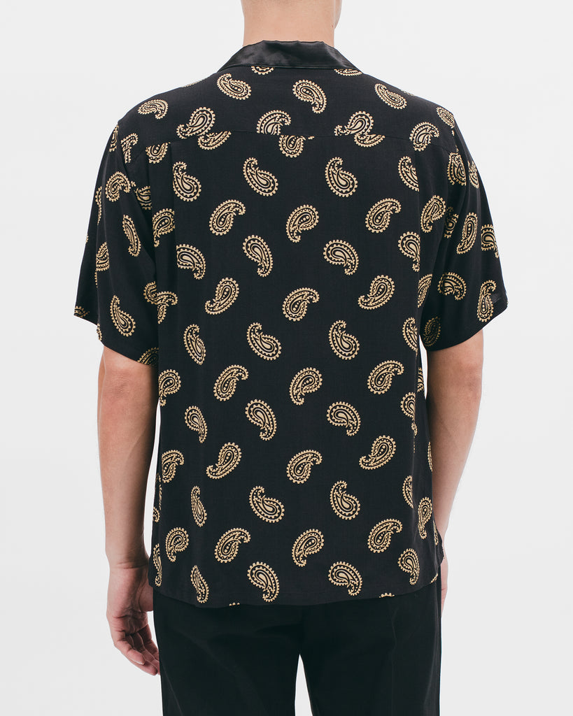 Paisley Rayon SS Shirt - Black - [product _vendor]