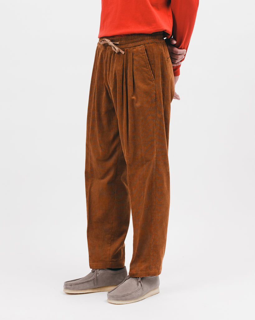 Relaxed Pleated Trouser - Camel Cord - [product _vendor]