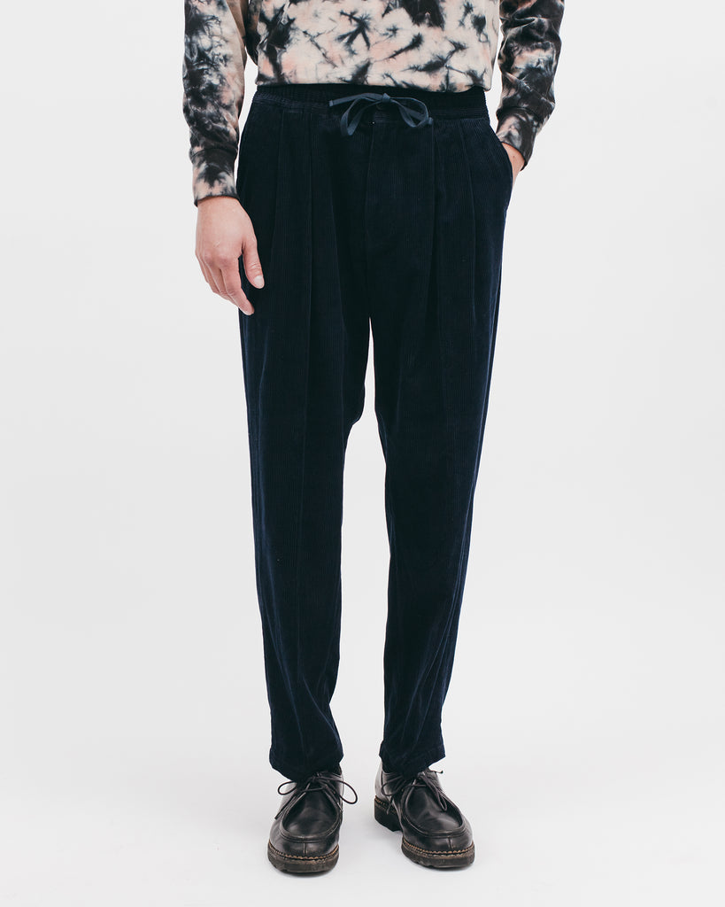 Relaxed Pleated Trouser - Midnight Cord - [product _vendor]