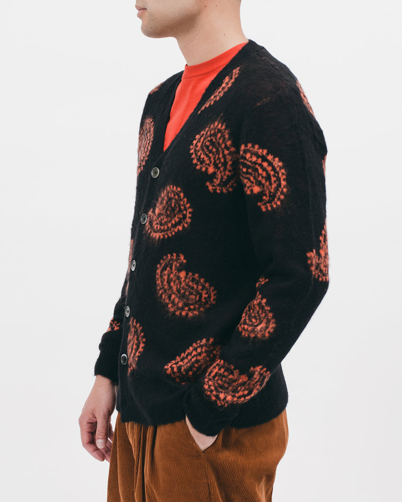 Mohair Cardigan - Black Paisley - [product _vendor]