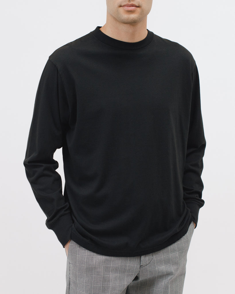 Natural Dyed Block LS Jersey - Black - Maiden Noir