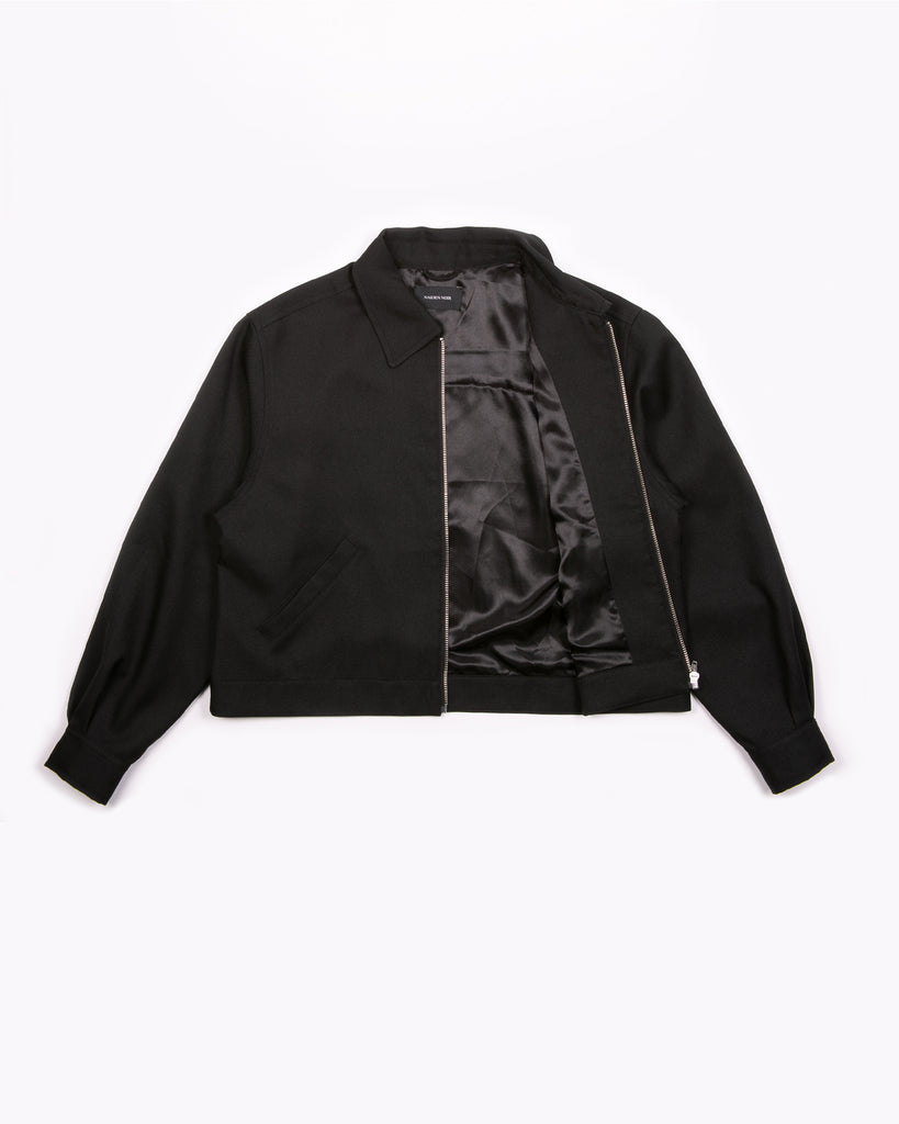 Crop Harrington Jacket - Black Sharkskin