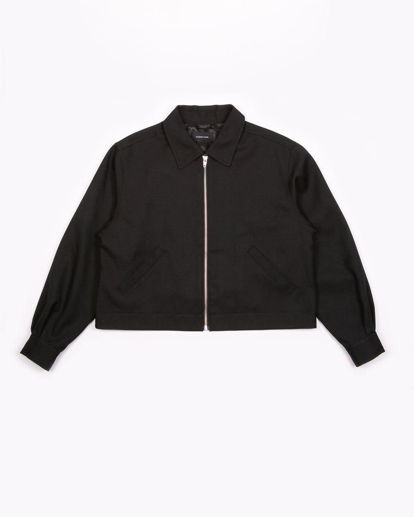 Crop Harrington Jacket - Black Sharkskin W