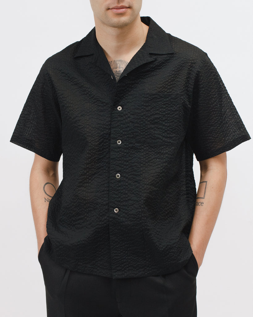 Crepe SS Shirt - Black - [product _vendor]