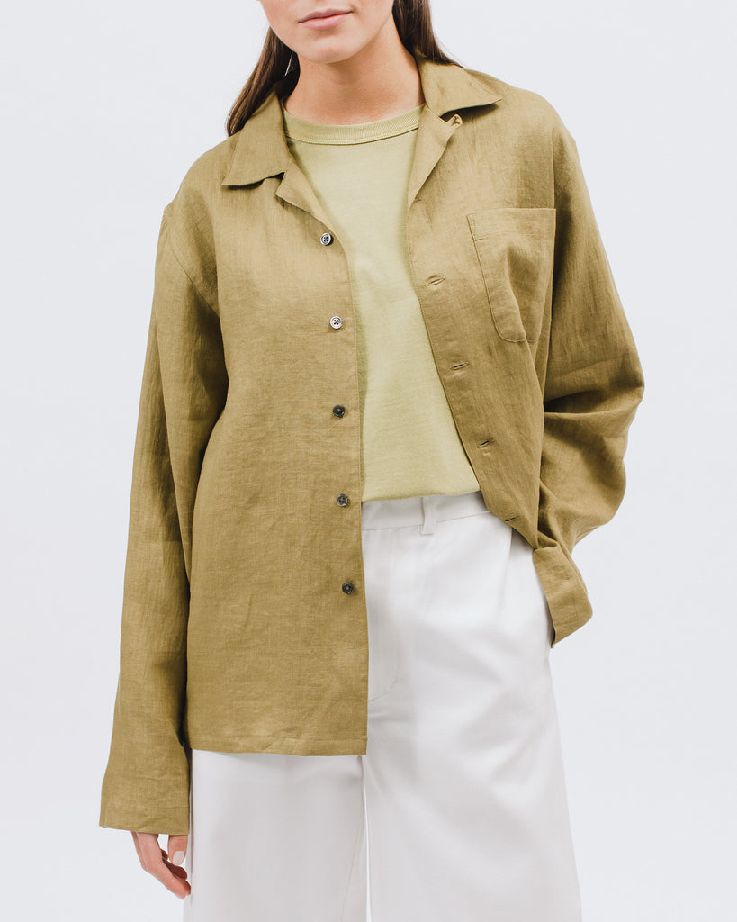 Linen LS Shirt - Olive - [product _vendor]