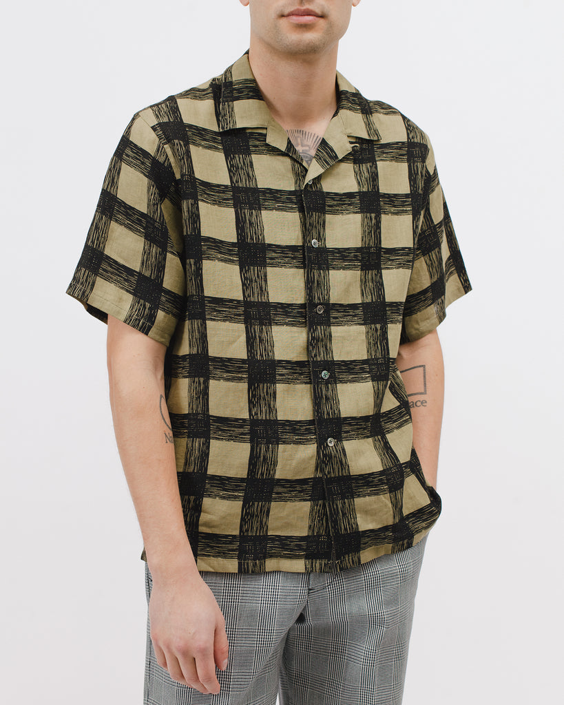 Brush Linen Shirt - Olive - Maiden Noir