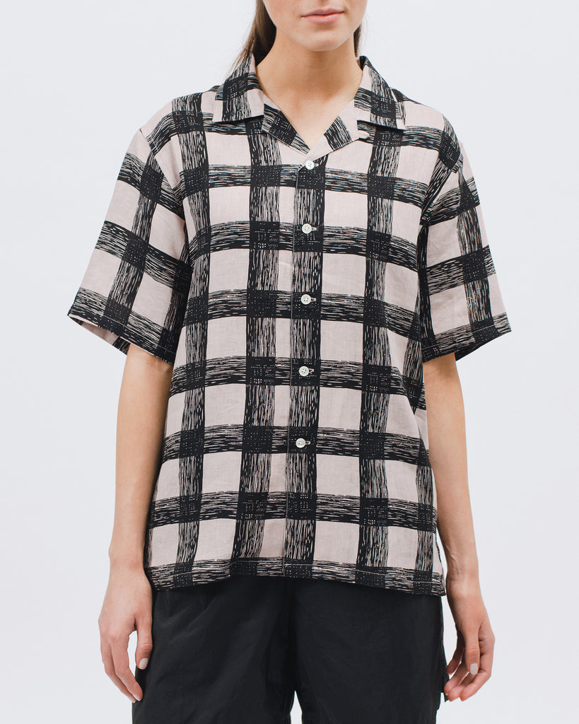 Brush Linen SS Shirt - Villa Pink - Maiden Noir