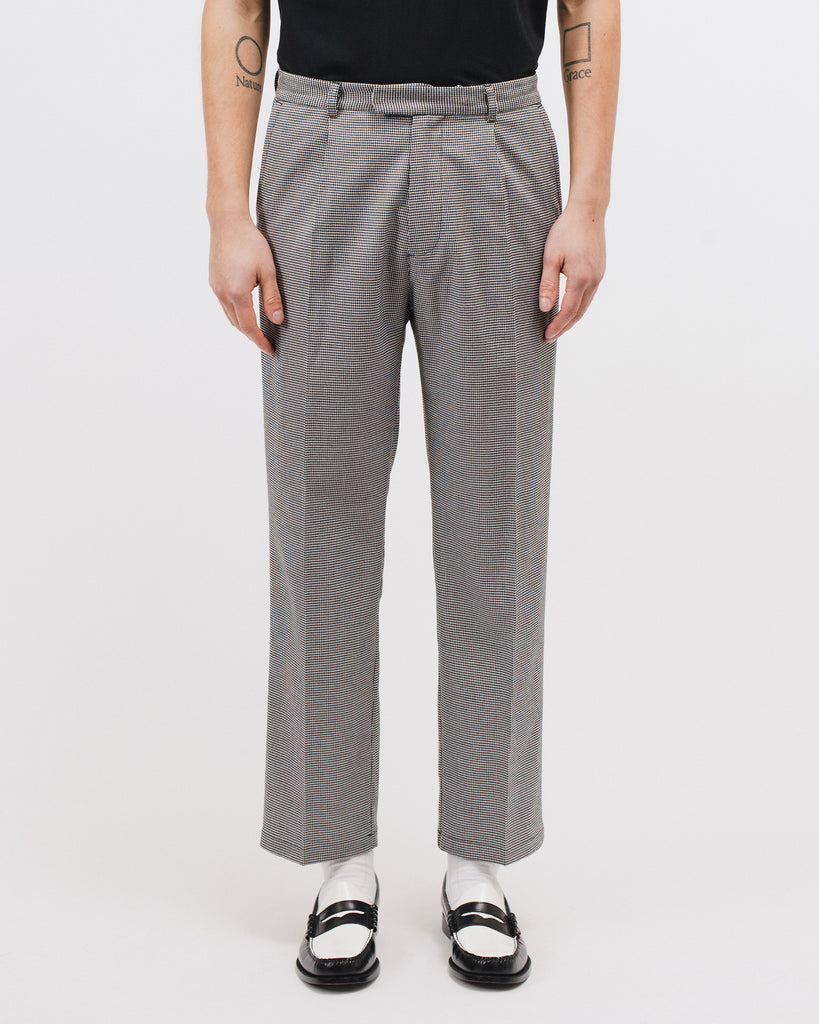Pleated Suit Trouser - Houndstooth - Maiden Noir