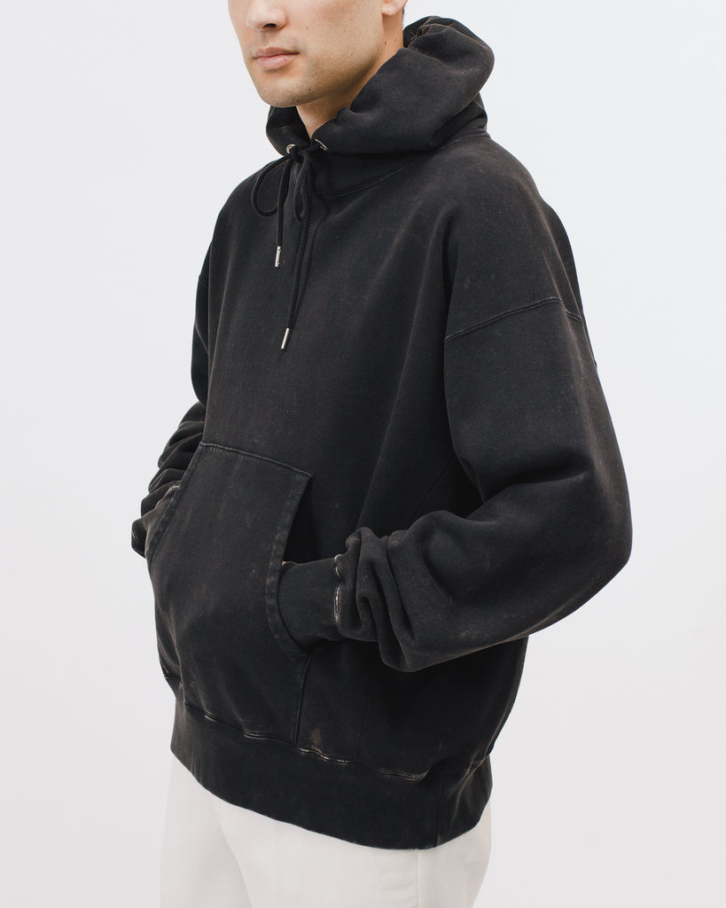Natural Dyed Hoodie Fleece - Graphite - Maiden Noir