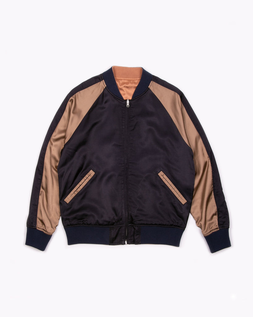 Reversible Satin Souvenir Jacket - Navy/Champagne