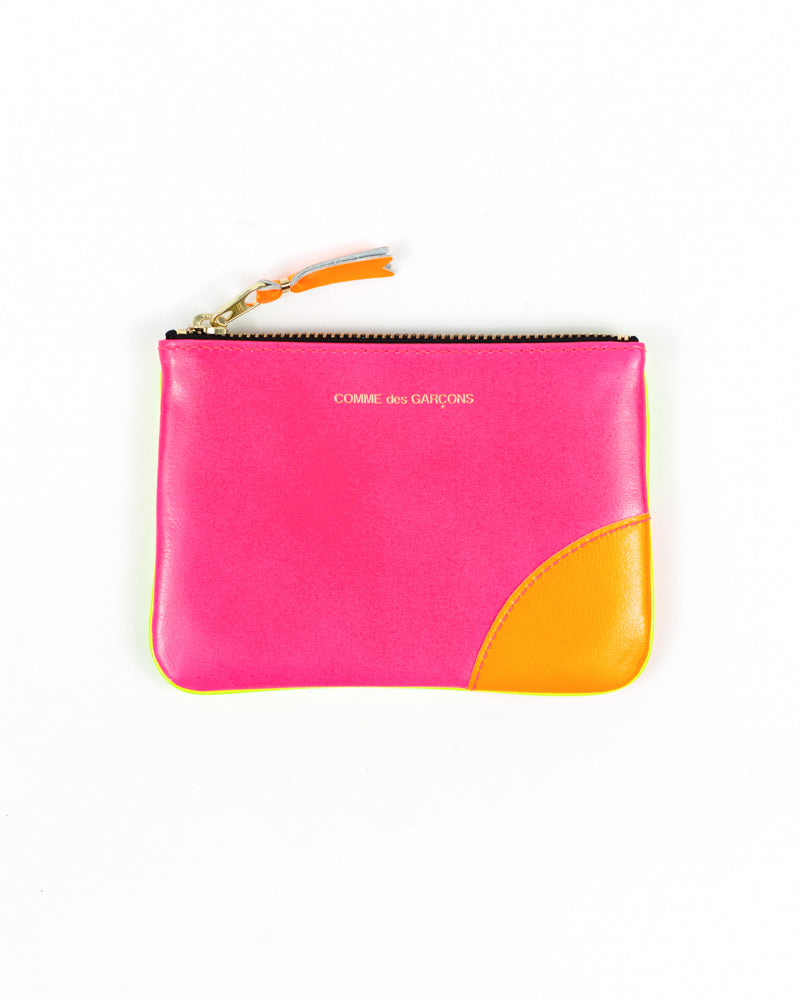 Super Fluo Small Zip Pouch - Pink/Yellow - Maiden Noir