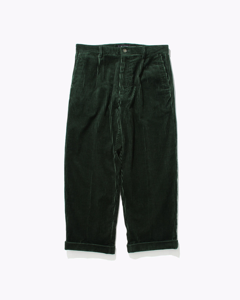 Pleated Cord Trouser - Pine