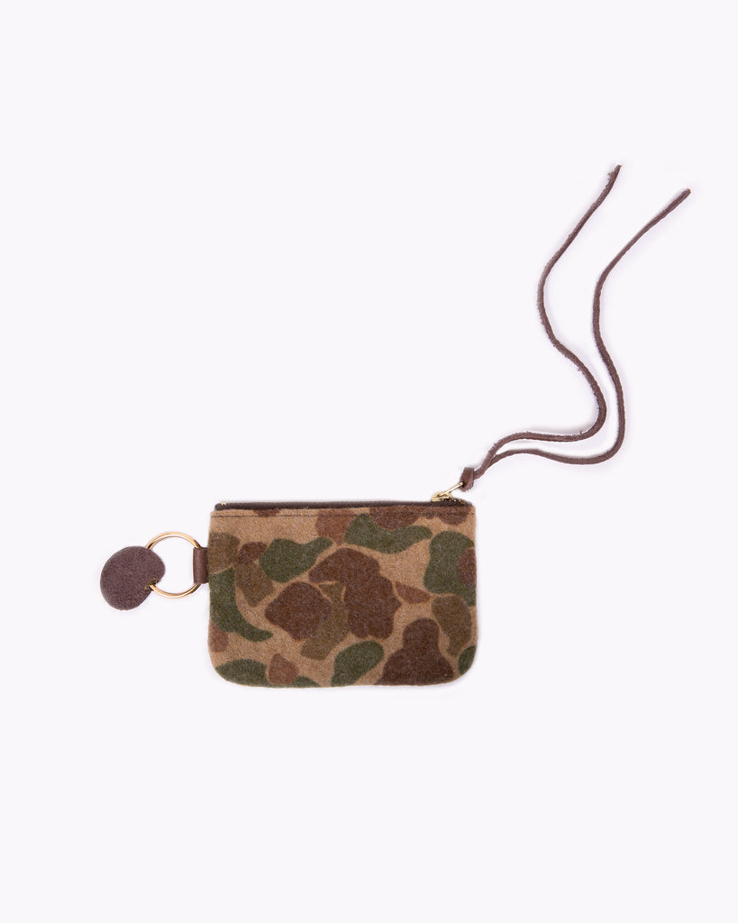 Leather/Wool Coin Purse - Dark Brown/Olive Camo