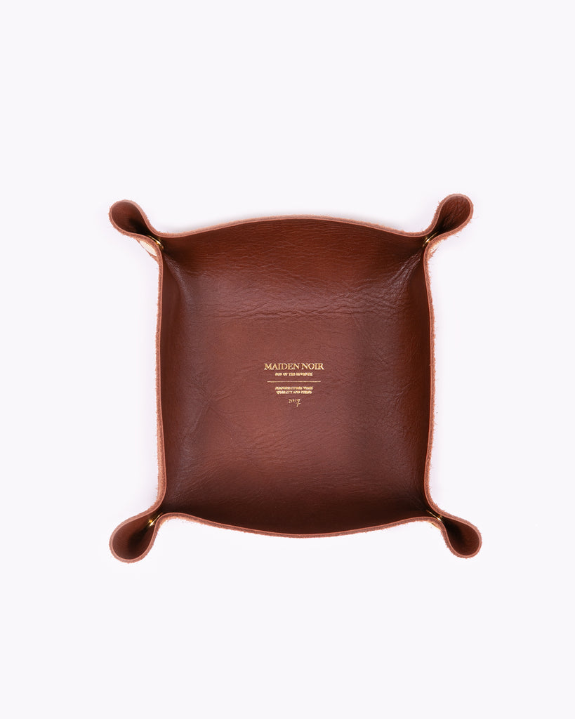Leather Coin Tray - Dark Brown