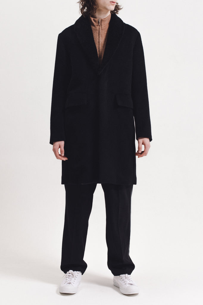 Wool Overcoat With Shearling - Black - [product _vendor]