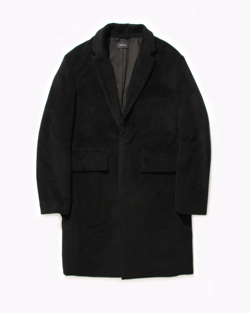 Wool Overcoat With Shearling - Black
