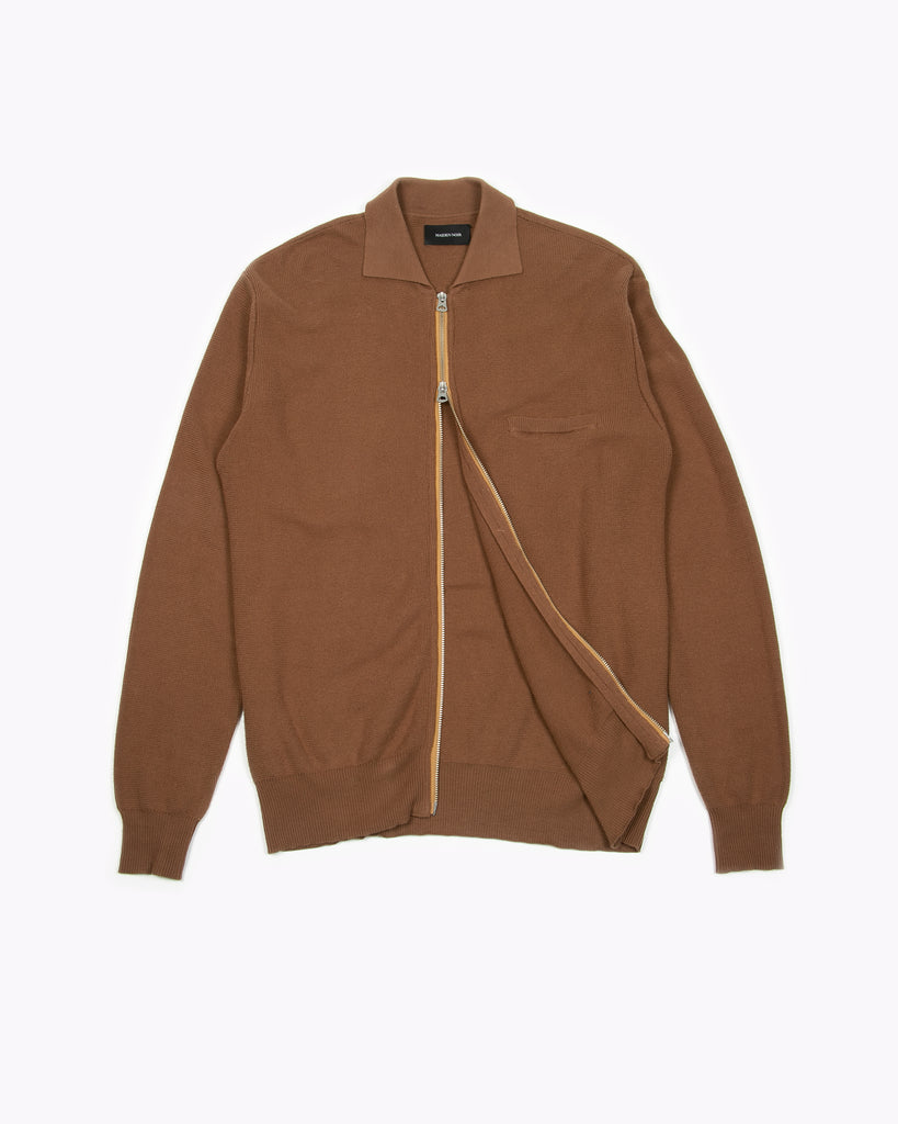 Zipper LS Knit Polo - Golden Brown - [product _vendor]
