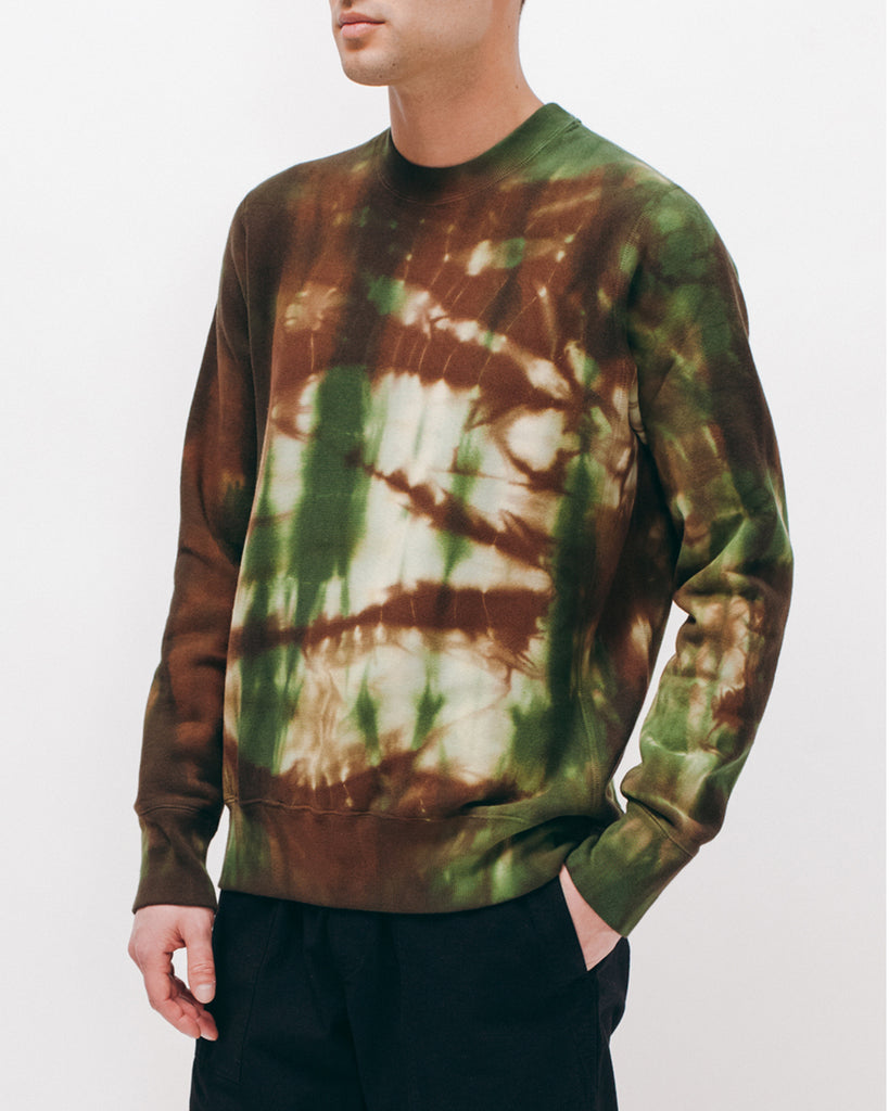 Natural Dyed Crew Fleece - Woodland Tie Dye