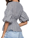 Plaid Short Lantern Sleeve Shirt