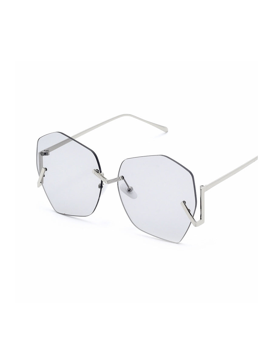 Polygonal Rimless Sunglasses
