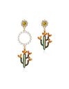 Beach Cactus Flower Asymmetrical Earrings