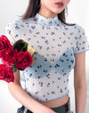 Mock Neck Sheer Cherry Print Crop Top Without Bra