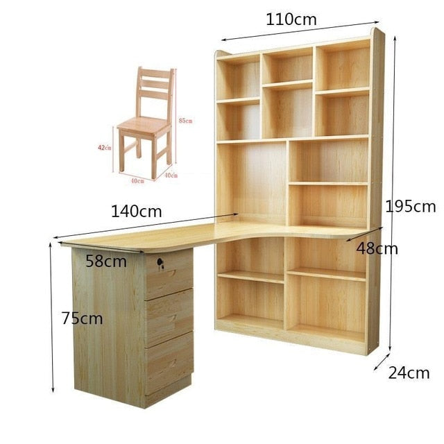 European Wood Bookcase Bookshelf Bookcase With Door Classical Desk With Chair