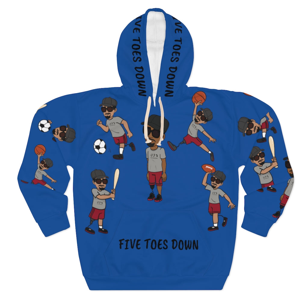 Five Toes Down Sports Unisex Pullover Hoodie blue 2