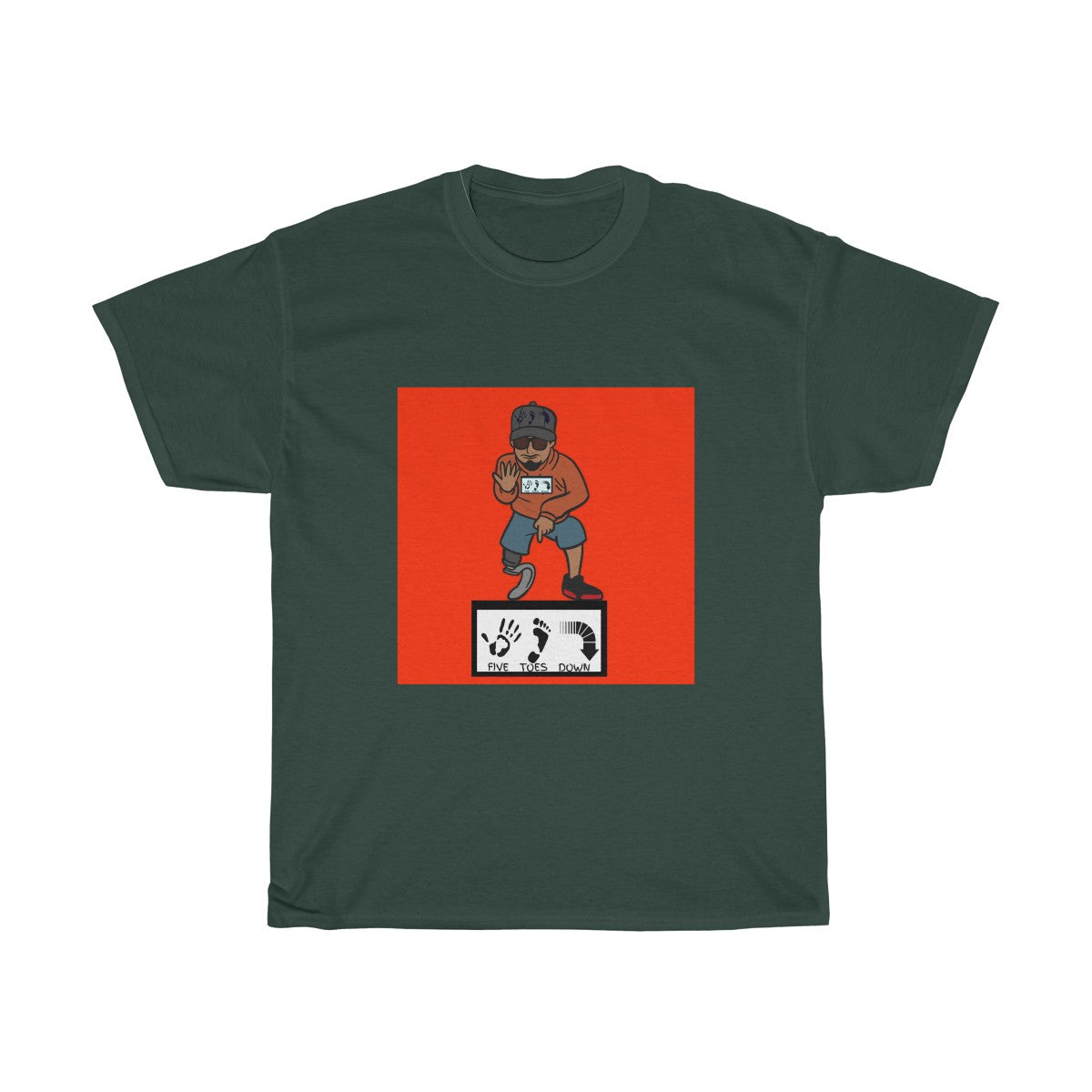 Five Toes Down Pose Red Background Unisex Tee