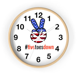 Five Toes Down Peace Wall clock