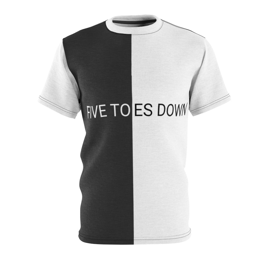 Five Toes Down White/Black Unisex Cut & Sew Tee
