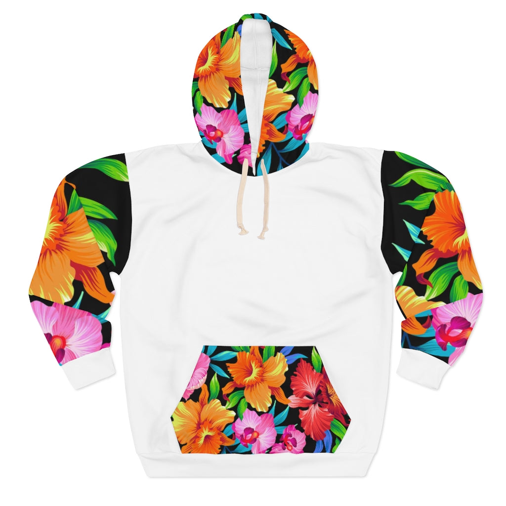 Five Toes Down Flowers Unisex Pullover Hoodie White