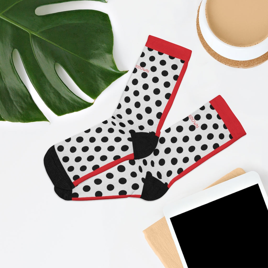 Five Toes Down Polka Dot Socks Red