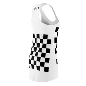 Five Toes Down Checkerboard Cut & Sew Racerback Dress