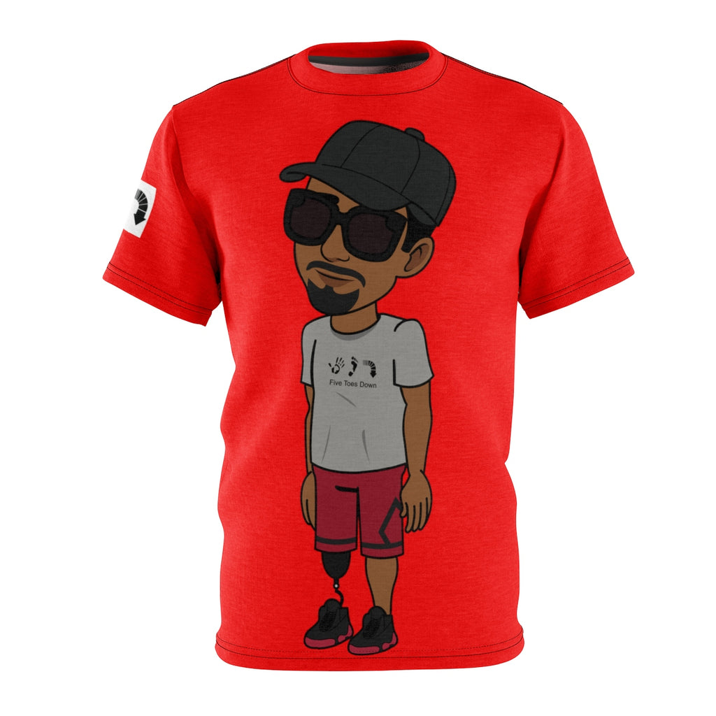 Five Toes Down Henry Unisex Cut & Sew Tee Red