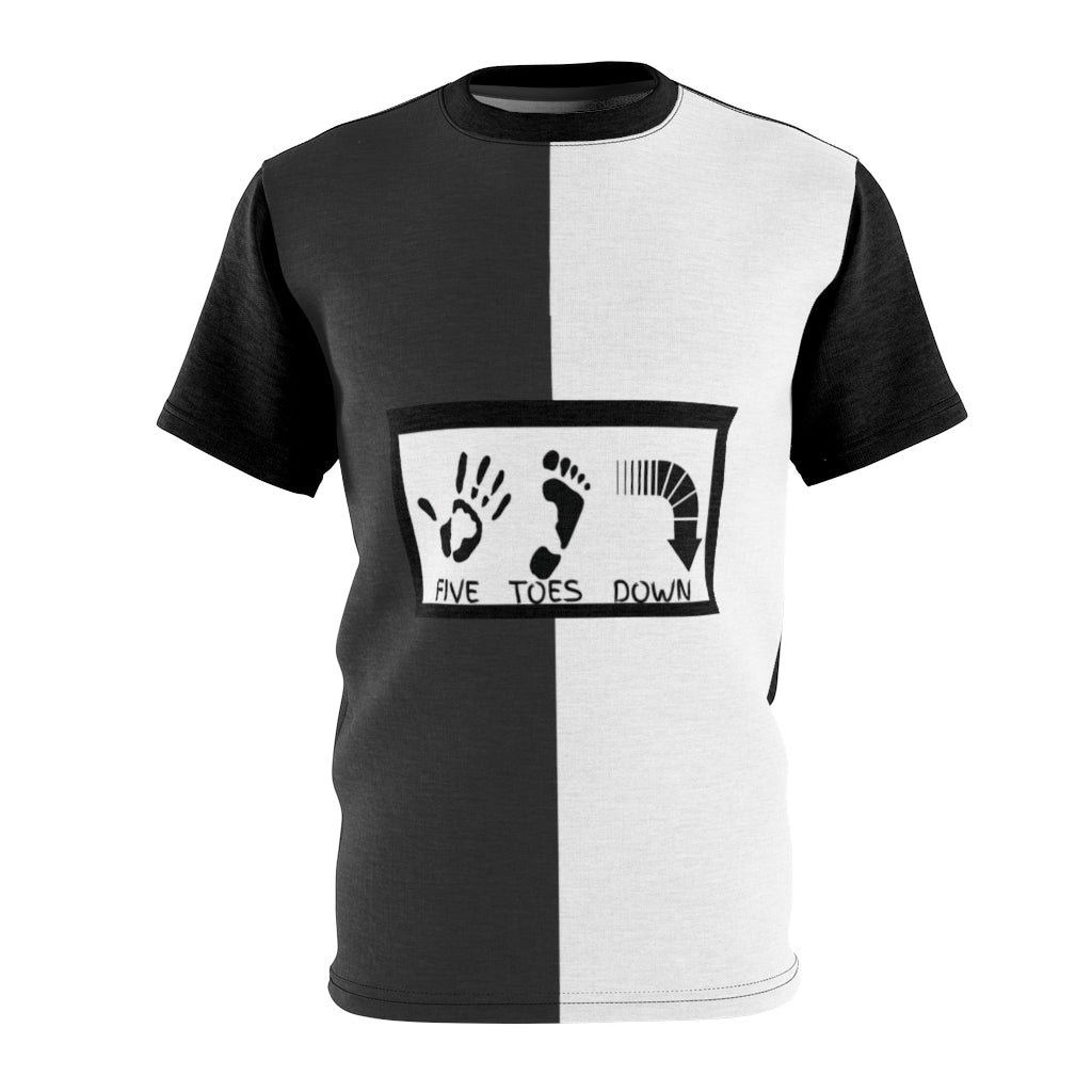 Five Toes Down Blk/White Logo Unisex Cut & Sew Tee