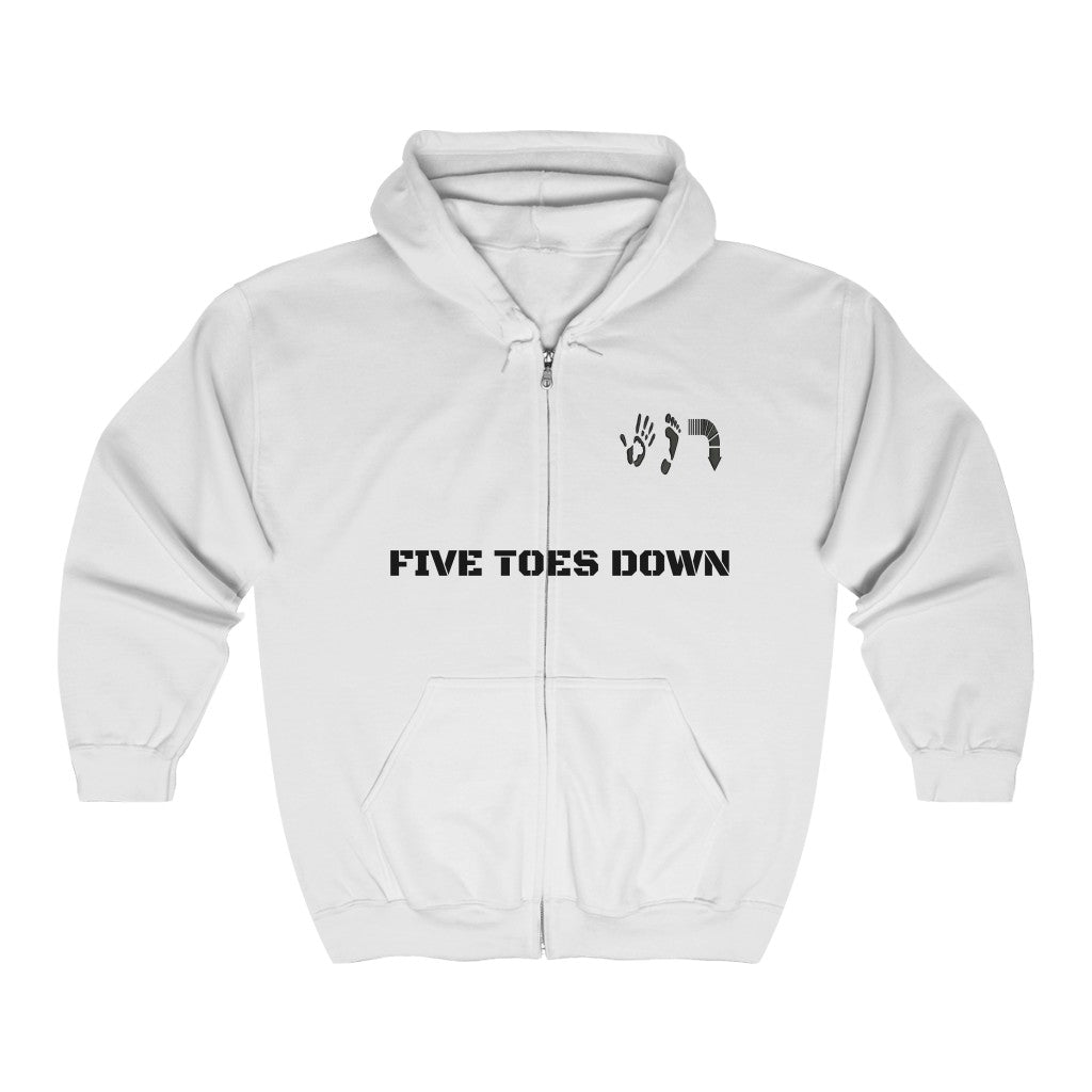Five Toes Down Unisex Full Zip Hooded Sweatshirt