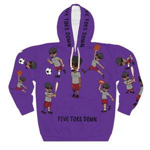Five Toes Down Sports Unisex Pullover Hoodie purp 2