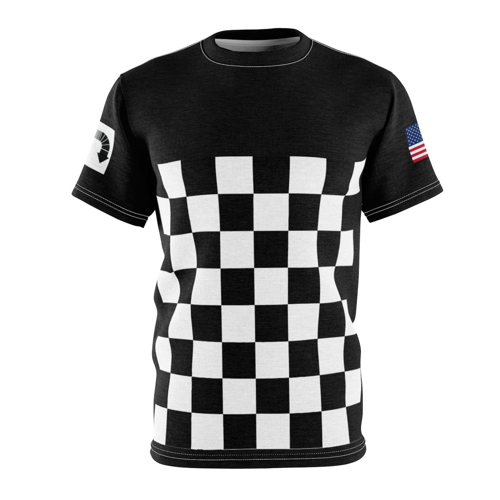 Five Toes Down Checker Unisex Cut & Sew Tee Black