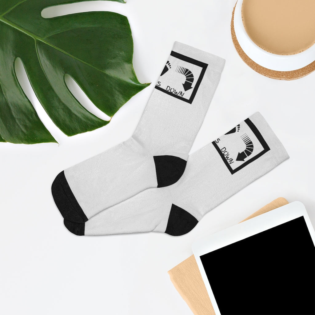 Five Toes Down Logo Socks White