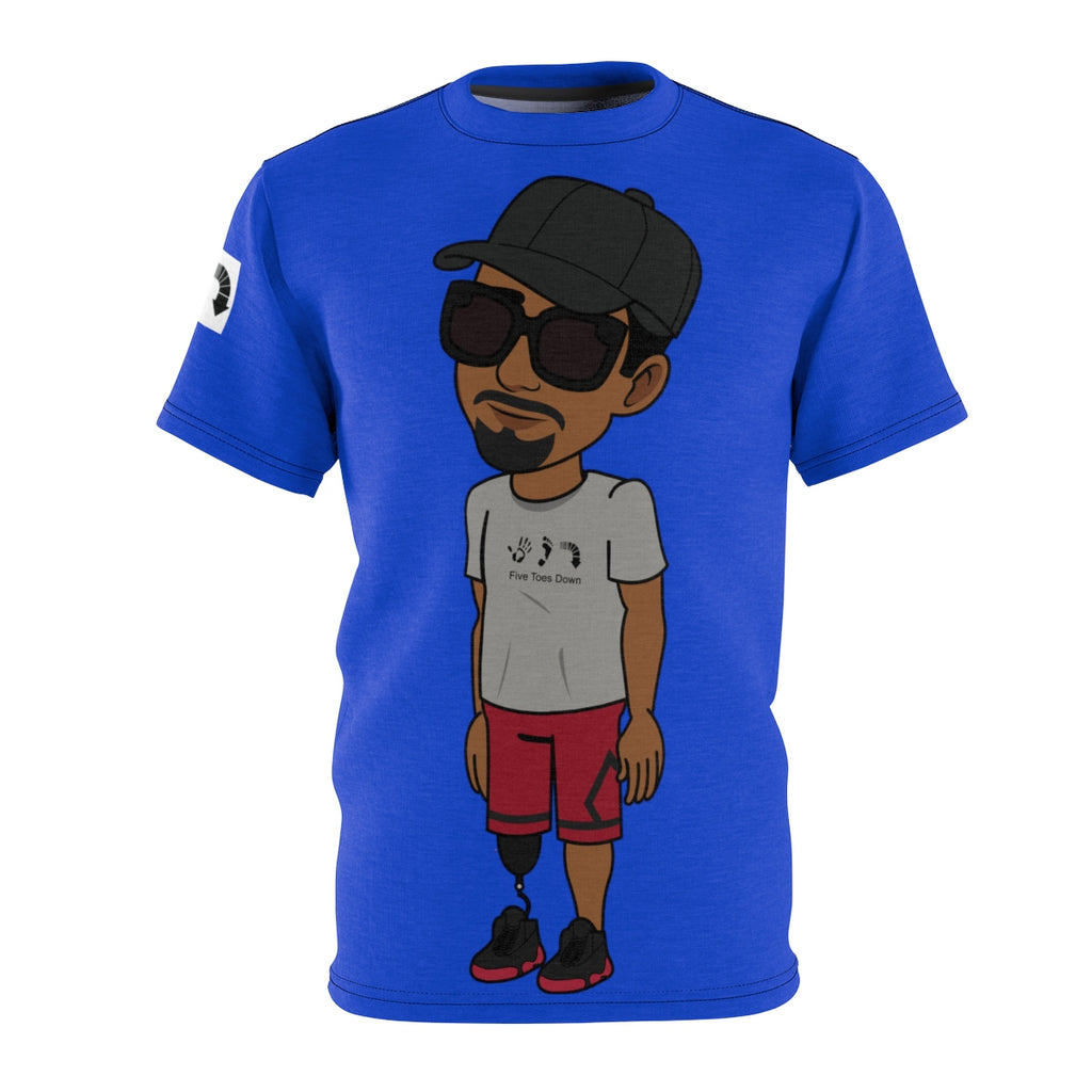 Five Toes Down Henry Unisex Cut & Sew Tee Blue