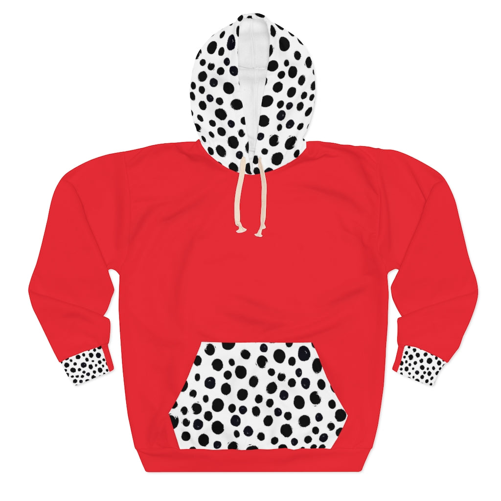 Five Toes Down Dalmatian Unisex Pullover Hoodie Red