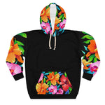 Five Toes Down Flowers Unisex Pullover Hoodie Black