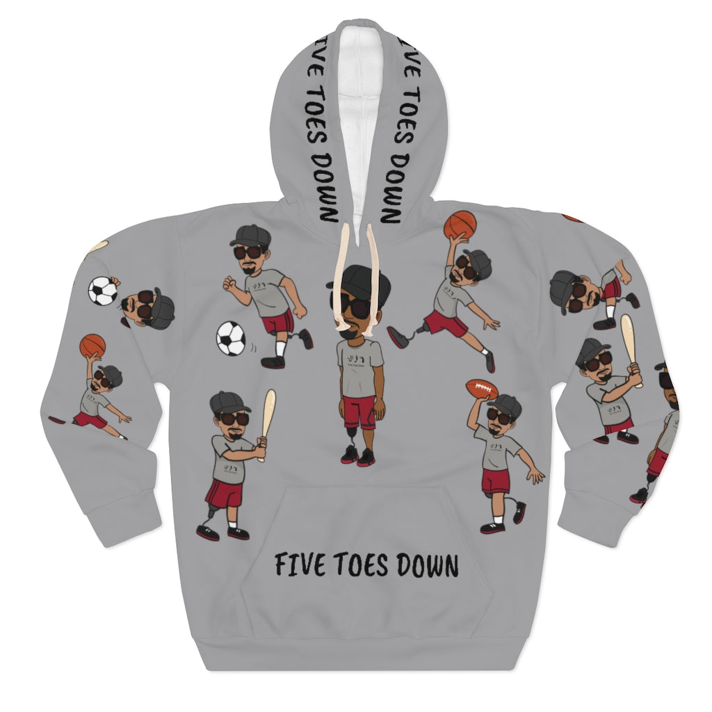 Five Toes Down Sports Unisex Pullover Hoodie grey 2