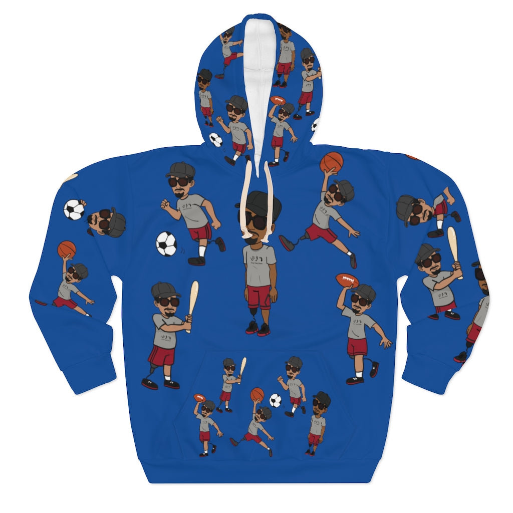 Five Toes Down Sports Unisex Pullover Hoodie blue